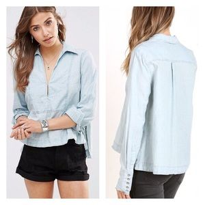 Free People Ready or Not chambray top